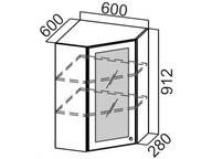 Шкаф навесной угловой со стеклом Ш600ус/912 Прованс