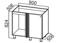 Стол рабочий угловой под мойку М1000у Прованс