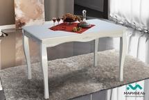 Стол обеденный МДФ-массив белый