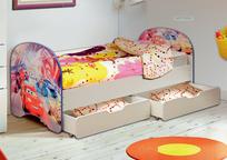 Кровать детская с двумя ящиками Тачки