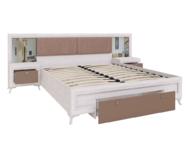 Кровать с основанием и тумбами М06 Саванна